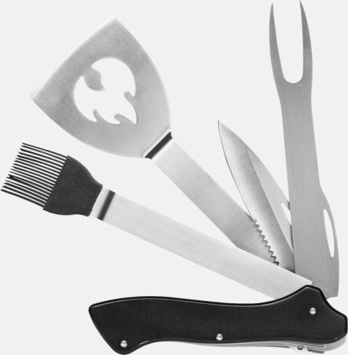 Silver / Svart 5 i 1 grillverktyg med reklamlogga