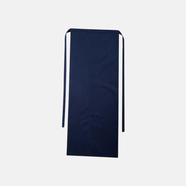 Marinblå Långa förkläden i många färger med reklamtryck