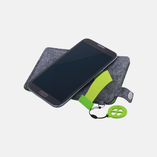 Grå/Limegrön (stor 5) Mobilfodral i filt med reklamtryck