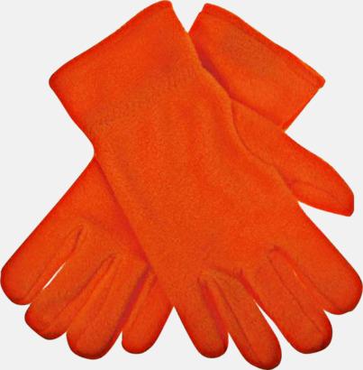 Orange Fleecevantar i många färger med brodyr