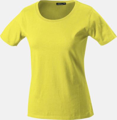 Gul T-shirtar av kvalitetsbomull med eget tryck