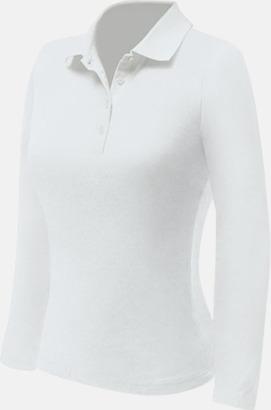 Vit (dam) Långärmade pikétröjor till lägre priser med reklamtryck