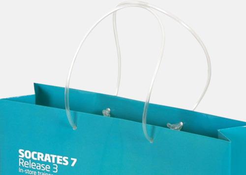 Papperspåsar med plasthandtag - med reklamtryck