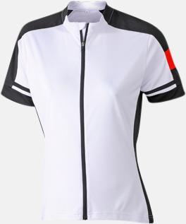 Vit (dam) Herr- och damcykeltröjor med hel dragkedja - med reklamtryck