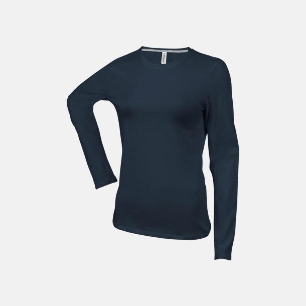 Mörkgrå (crewneck, dam) Långärmad t-tröja med rundhals för herr och dam med reklamtryck