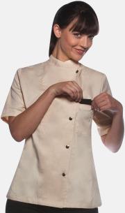 Cream (kortärmad) Lång- och kortärmade kockjackor i dammodell med reklamtryck