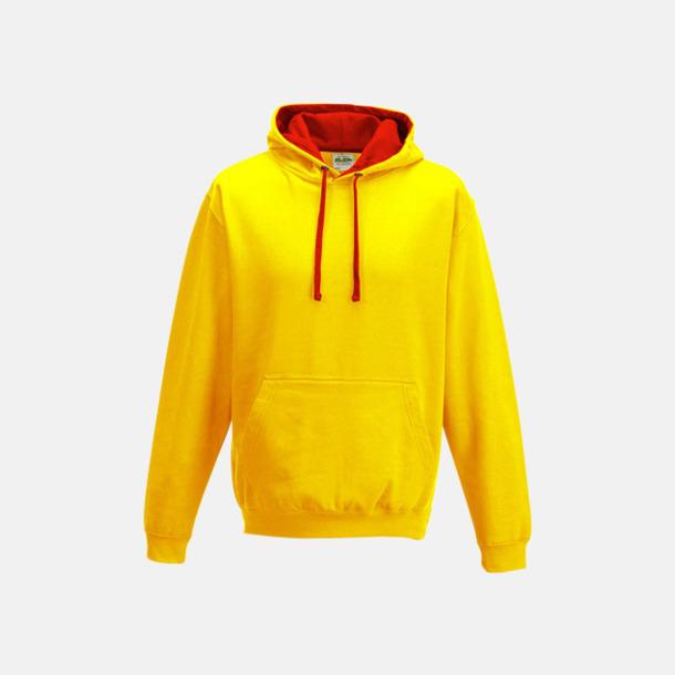 Sun Yellow/Fire Red Huvtröjor med insida av luva och dragsko i kontrasterande färg - med reklamtryck