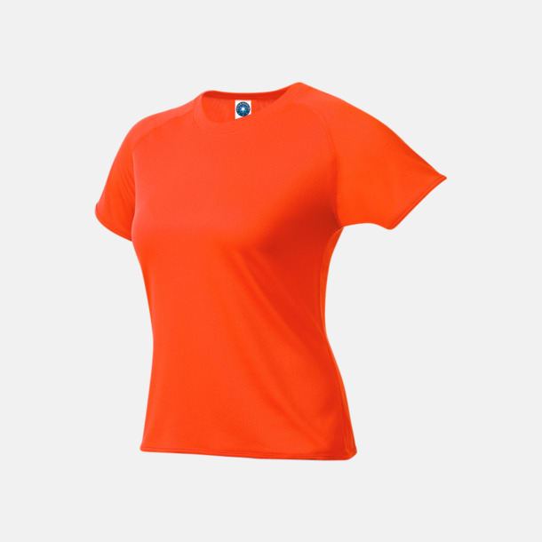 Fluorescerande Orange (dam) Funktions t-shirts i herr- & dammodell med reklamtryck