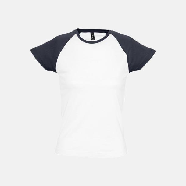Vit/Marinblå (dam) T-shirts i herr- och dammodell med kontrasterande färg - med reklamtryck