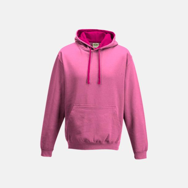 Candyfloss Pink/Hot Pink Huvtröjor med insida av luva och dragsko i kontrasterande färg - med reklamtryck