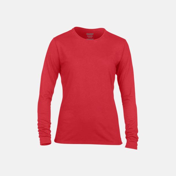 Röd (dam) Långärmade funktionströjor för vuxna och barn med reklamtryck