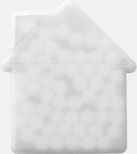 Vit (hus) Fresh cards i olika former fyllda med mintgodis - med reklamtryck
