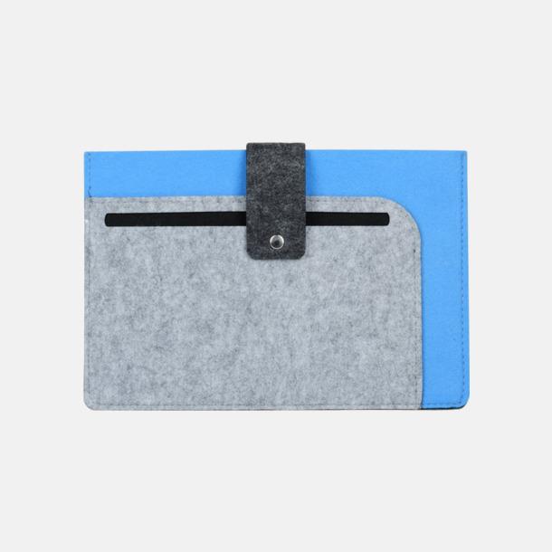Grå / Ljusblå Surfplattefodral med snap fastener med reklamtryck