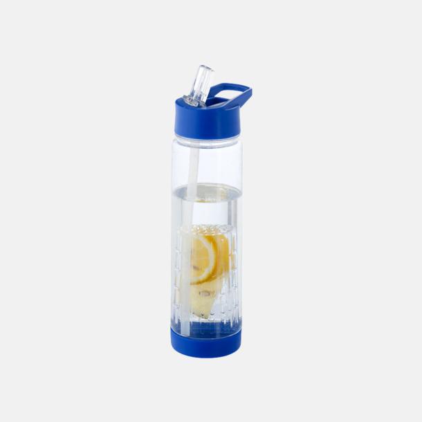 Blå Vattenflaska med kolv för smaksättning - med reklamtryck