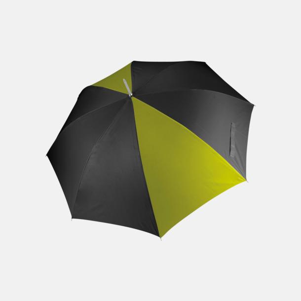 Svart/Burnt Lime Tvåfärgade golfparaplyer med reklamtryck
