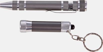 Grå / Silver Set med ficklampa och skruvmejsel med multibits - med reklamtryck