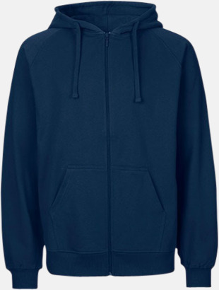 Marinblå (herr) Ekologiska huvtröjor med blixtlås i herr- & dammodell med reklamtryck