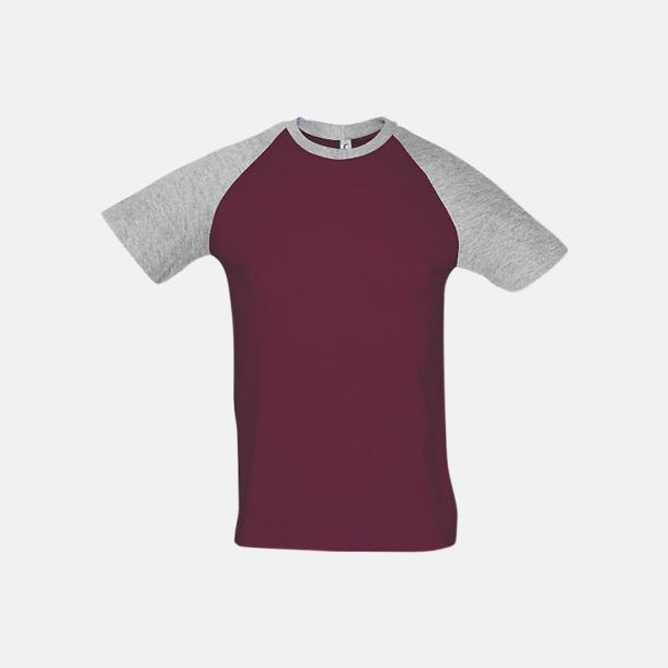 Burgundy/Grey Melange (herr) T-shirts i herr- och dammodell med kontrasterande färg - med reklamtryck