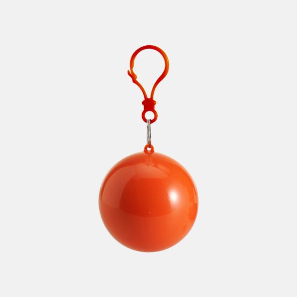 Orange Regnponcho i boll med tryck