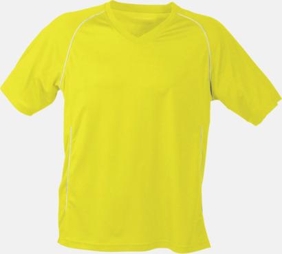 Gul T-shirt i funktionsmaterial med eget tryck