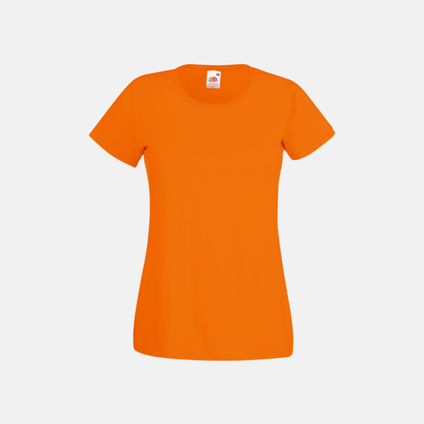 Orange Figursydd damt-shirt med reklamtryck