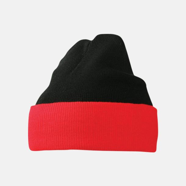 Svart/Röd Mössor med uppvik i kontrasterande färg - med reklambrodyr