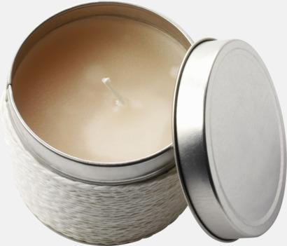 Vit (vanilj) Doftande värmeljus med reklamlogga