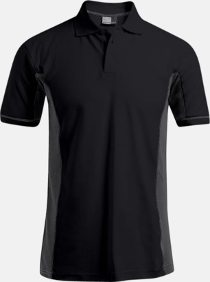 Svart/Ljusgrå (endast herr) Pikétröjor i funktionsmaterial med tryck