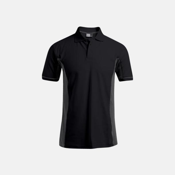 Svart/Ljusgrå (herr) Pikétröjor i funktionsmaterial med tryck
