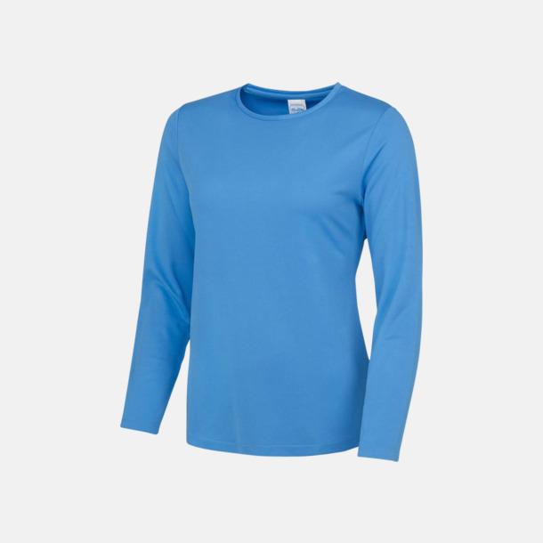 Sapphire Blue (dam) Unisex tränings t-shirts med långa ärmar - med reklamtryck
