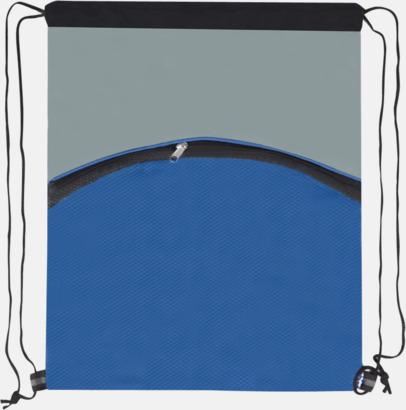 Blå (framsida) Gympapåse med nätficka - med reklamtryck