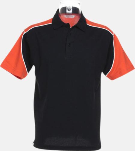 Svart/Orange/Vit Sportiga pikétröjor för i herrmodell - med reklamtryck eller -brodyr