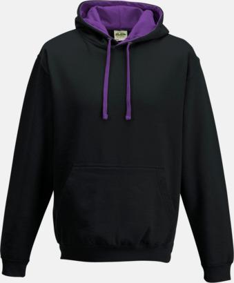 Jet Black/Lila Huvtröjor med insida av luva och dragsko i kontrasterande färg - med reklamtryck