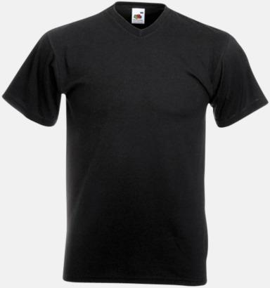 Svart V-ringad t-shirt med reklamtryck