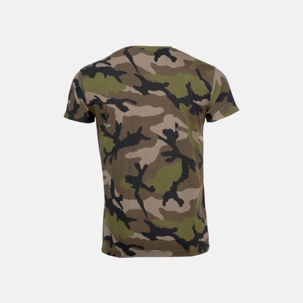Kamouflagemönstrade t-shirts i herr- & dammodell med reklamtryck