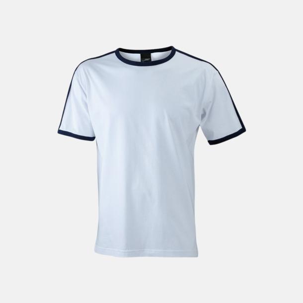 Vit/Marinblå (herr) T-shirts med kontrastfärger - med reklamtryck