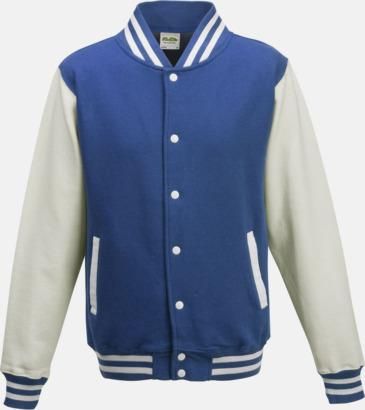 Royal Blue/Vit Trendiga varsity-jackor med tryck