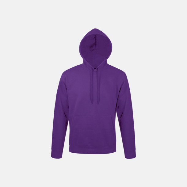 Dark Purple Tjocka huvtröjor i unisexmodell med reklamtryck