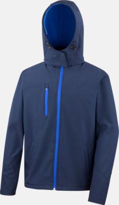 Marinblå/Royal (herr) Hooded softshell-jackor i herr- & dammodell med reklamtryck