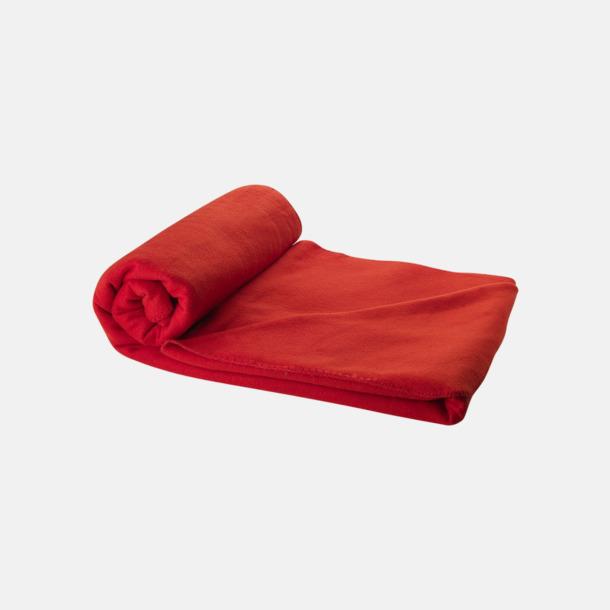 Röd Fleecefilt och bag - med reklamtryck