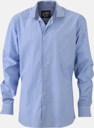Ljusblå-Vit/Marinblå (herr) Blusar & skjortor i randigt mönster med reklamtryck