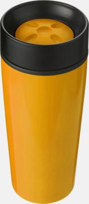 Orange Ståltermosar med trycklock - med reklamtryck
