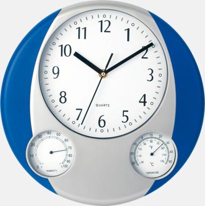 Silver / Blå Väggklocka och termometer med reklamtryck