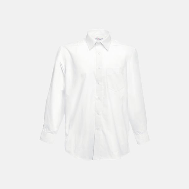 Vit Long Sleeve Poplin Shirt med reklamlogo
