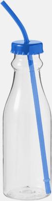 Blå Drickflaskor med sugrör - med reklamtryck