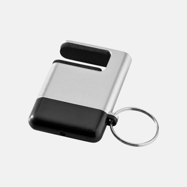 Silver / Svart Skärmrengörare, ställ och nyckelring - med reklamtryck