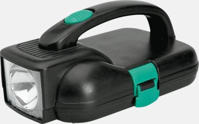 Svart / Grön Väska med ficklampa och skruvmejsel med reklamtryck