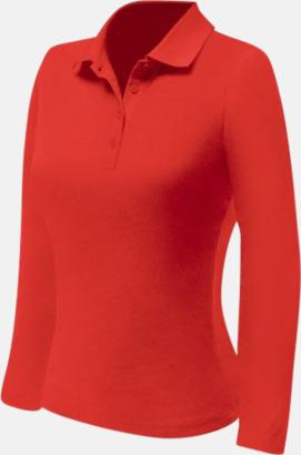 Röd (dam) Långärmade pikétröjor till lägre priser med reklamtryck