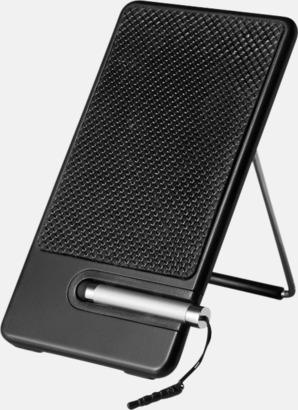 Svart Mobilställ med touchpenna - med tryck eller gravyr