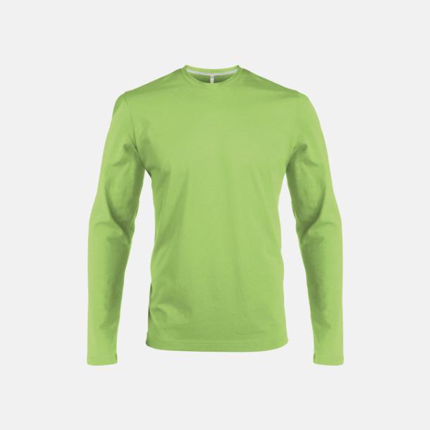 Lime (crewneck, herr) Långärmad t-tröja med rundhals för herr och dam med reklamtryck